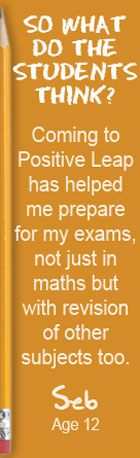 So what do the students think? Coming to Positive Leap has helped me prepare for my exams, not just in maths but with revision of other subjects too. Seb, Age 12